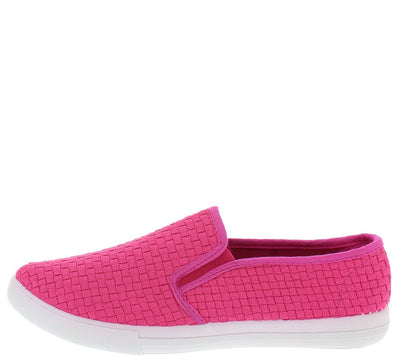 Yaffa02 Fuchsia Basket Weave Slip on Sneaker Flat - Wholesale Fashion Shoes