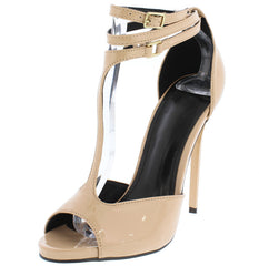BRIANNA3 NUDE PATENT T-STRAP WRAPPING ANKLE STRAP STILETTO HEEL - Wholesale Fashion Shoes