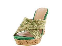AIMEE GREEN CROSSOVER CORK WEDGE - Wholesale Fashion Shoes