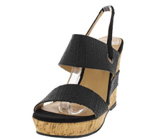 AGATHA BLACK CORK SLINGBACK WEDGE - Wholesale Fashion Shoes