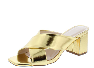Evelyn127 Gold Cross Strap Square Open Toe Slide Block Heel - Wholesale Fashion Shoes
