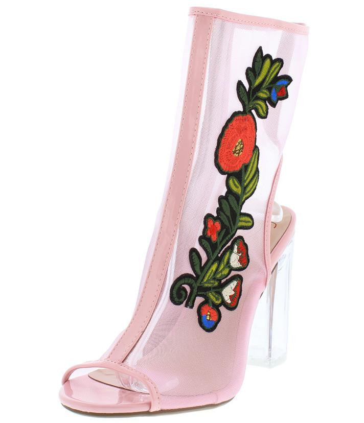 Ylang pink flower clear patch peep toe lucite heels only ylang pink flower clear patch peep toe lucite heel wholesale fashion shoes mightylinksfo