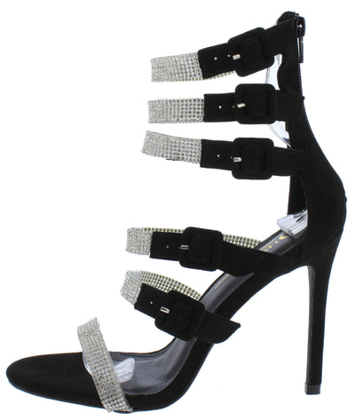 Yolanda Black Suede Multi Rhinestone Buckle Strap Heel - Wholesale Fashion Shoes