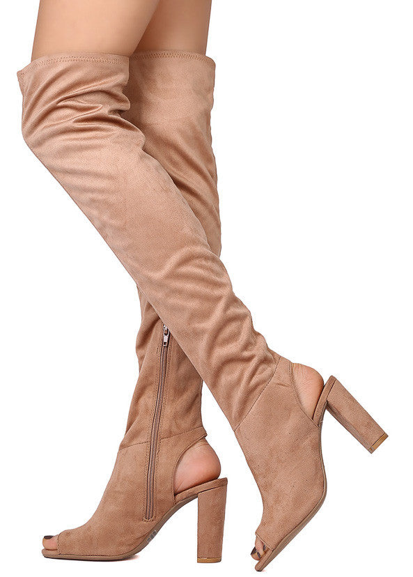 aec9dad9288c04 York22 Taupe Suede Knee High Peep Toe Heel Boot - Wholesale Fashion Shoes