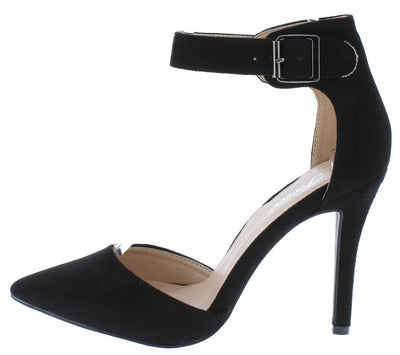 Young05 Black Pointed Toe Ankle Strap Stiletto Heel - Wholesale Fashion Shoes