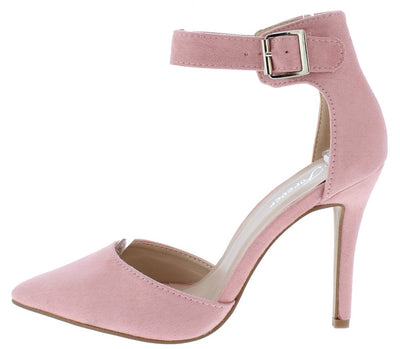 Young05 Dusty Pink Pointed Toe Ankle Strap Stiletto Heel - Wholesale Fashion Shoes