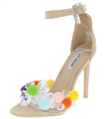 Yuki18 Nude Lucite Open Toe Pom Pom Crystal Heels Only - Wholesale Fashion Shoes