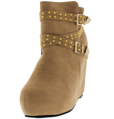 Yuki2 Taupe Studded Wedge Boot - Wholesale Fashion Shoes