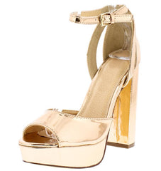 NORA134 ROSE GOLD PEEP TOE ANKLE STRAP CHUNKY PLATFORM HEEL - Wholesale Fashion Shoes