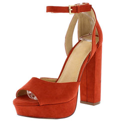 NORA134 CINNAMON PEEP TOE ANKLE STRAP CHUNKY PLATFORM HEEL - Wholesale Fashion Shoes