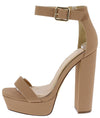 Fernanda181 Nude Open Toe Ankle Strap Platform Block Heel - Wholesale Fashion Shoes