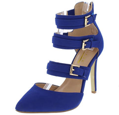 YUNI7 ROYAL BLUE MULTI STRAP BUCKLE POINTED TOE STILETTO HEEL - Wholesale Fashion Shoes