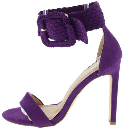 Yvonne Purple Suede Open Toe Woven Ankle Band Stiletto Heel - Wholesale Fashion Shoes