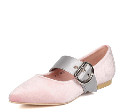 Zadie2 Pink Velvet Two Tone Buckle Pointed Toe Flat - Wholesale Fashion Shoes