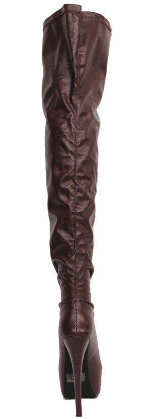Zabrina Wine Thigh High Platform Boot - Wholesale Fashion Shoes