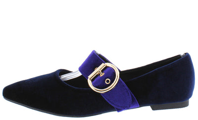Zadie2 Royal Blue Velvet Two Tone Buckle Pointed Toe Flat - Wholesale Fashion Shoes