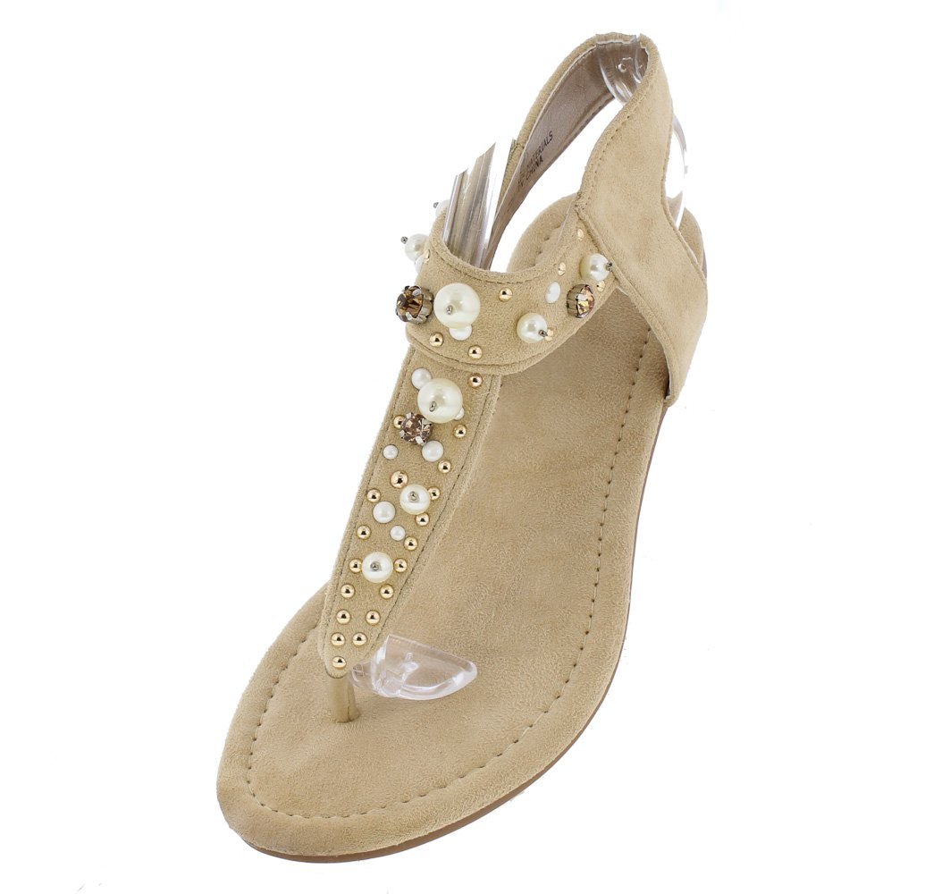 d5bc429f50fb ... Eva186 Nude Sparkle Pearl Embellished Cut Out Thong Sandal - Wholesale  Fashion Shoes ...