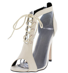 JASMINE  NUDE CLEAR WOMEN'S HEEL - Wholesale Fashion Shoes