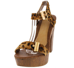 EVANGELINA DISTRESSED LEOPARD CHUNKY HEEL - Wholesale Fashion Shoes
