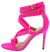 Zion Hot Pink Strappy Open Toe Rear Zip Stiletto Heel