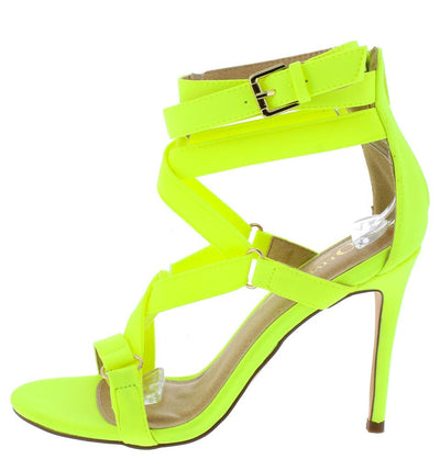 Zion Neon Yellow Strappy Open Toe Rear Zip Stiletto Heel - Wholesale Fashion Shoes