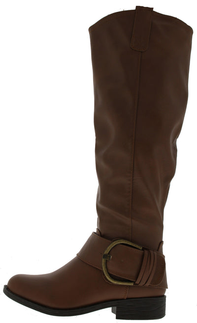 Zip6 Tan Buckle Ankle Riding Boot - Wholesale Fashion Shoes