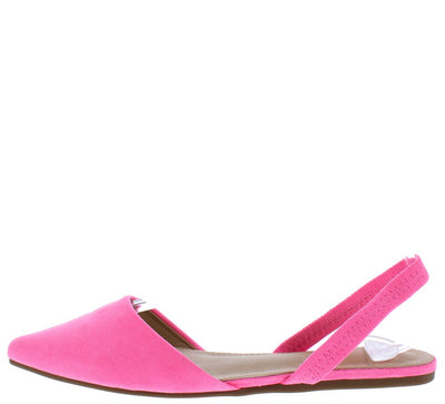 Areli121 Pink Pointed Toe Slingback Mule Flat - Wholesale Fashion Shoes