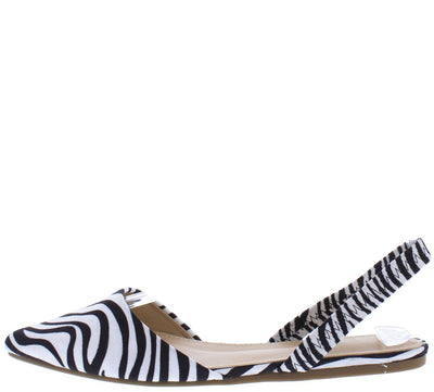 Areli121 Zebra Pointed Toe Slingback Mule Flat - Wholesale Fashion Shoes