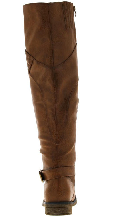 Zoey8w Cognac Quilted Riding Boot - Wholesale Fashion Shoes