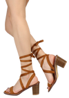 Zuley Chestnut Wrap Women's Chunky Wood Heel - Wholesale Fashion Shoes