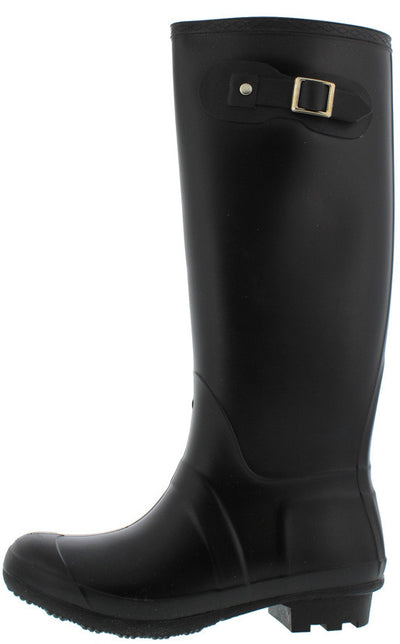 Zuri1 Black Strap and Buckle Embellished Rubber Rain Boot - Wholesale Fashion Shoes