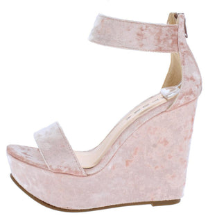 388d914f6 Rina Light Peach Velvet Open Toe Ankle Strap Platform Wedge - Wholesale  Fashion Shoes