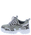 Above20k Grey Snake Two Tone Lace Up Kids Sneaker Flat - Wholesale Fashion Shoes