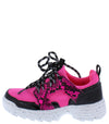 Above20k Neon Fuchsia Two Tone Lace Up Kids Sneaker Flat - Wholesale Fashion Shoes