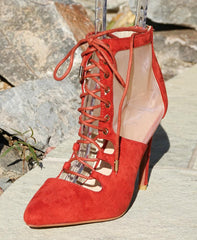 ACORN20 RED POINTED TOE LACE UP MESH STILETTO HEEL - Wholesale Fashion Shoes