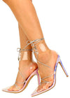 Actress Iridescent Lucite Pointed Toe Strappy Stiletto Heel - Wholesale Fashion Shoes