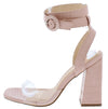 Addison Blush Crocodile Lucite Ankle Wrap Angled Heel - Wholesale Fashion Shoes