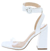 Addison White Crocodile Lucite Ankle Wrap Angled Heel - Wholesale Fashion Shoes