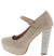 Adele101 Nude Almond Toe Covered Platform Rhinestone Heel