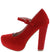 Adele101 Red Almond Toe Covered Platform Rhinestone Heel
