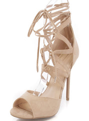 ADELE329 NATURAL OPEN TOE MULTI CUT OUT LACE UP HEEL - Wholesale Fashion Shoes