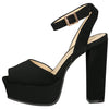 Admire17 Black Peep Toe Ankle Strap Platform Heel - Wholesale Fashion Shoes