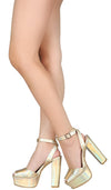 Admire17 Gold Peep Toe Ankle Strap Platform Heel - Wholesale Fashion Shoes