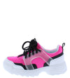 Adobe16k Neon Fuchsia Kids Multi Lace Up Sneaker Flat - Wholesale Fashion Shoes