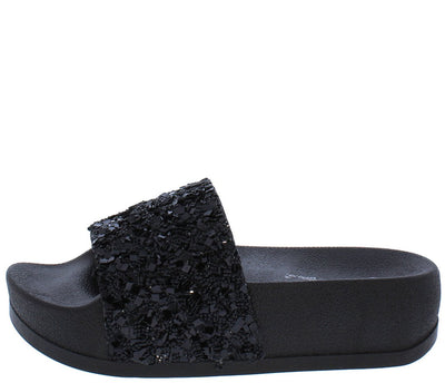 Alisa03 Black Sparkle Open Toe Mule Slide Sandal - Wholesale Fashion Shoes