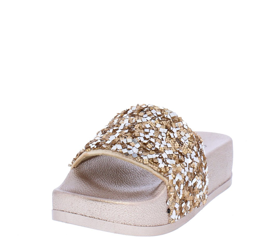 49f348b4614 Alisa03 Rose Gold Sparkle Open Toe Mule Slide Sandal - Wholesale Fashion  Shoes
