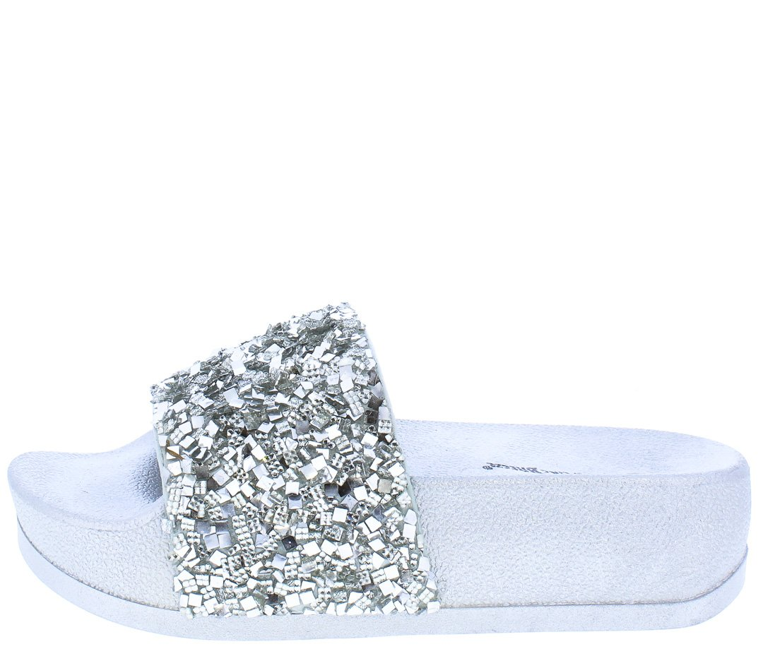 414d8908cb3 Alisa03 Silver Sparkle Open Toe Mule Slide Sandal - Wholesale Fashion Shoes