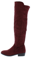 Alida32 Wine Round Toe Knee High Short Heel Boot - Wholesale Fashion Shoes