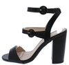 Alona05 Black Open Toe Tri Strap Cut Out Block Heel - Wholesale Fashion Shoes