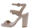 Alona05 Blush Open Toe Tri Strap Cut Out Block Heel - Wholesale Fashion Shoes